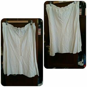 H&M white drawstring skirt